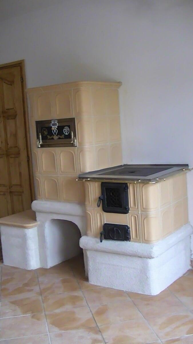 Bézs sparhelt egybe főzőlappal sütővel és ülőkével