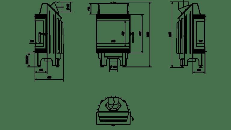 8 kW teljesítményű A-Energiaosztályos-KRATKI BLANKA HÁROM OLDALAS KANDALLÓBETÉT