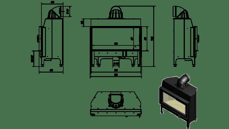 14 kW teljesítményű A-Energiaosztályos-KRATKI NADIA 14 KANDALLÓBETÉT