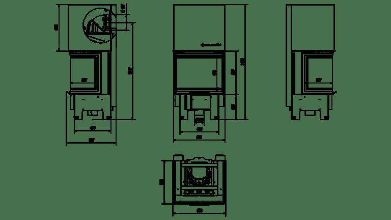 9 kW teljesítményű A+-Energiaosztályos-KRATKI NBC 9 HÁROM OLDALÜVEGES KANDALLÓBETÉT