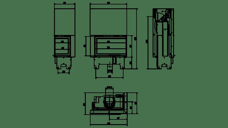 14 kW teljesítményű A+-Energiaosztályos-KRATKI VN 810/410 JOBB OLDALÜVEGES LIFTES KANDALLÓBETÉT