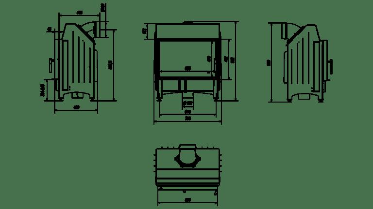 11 kW teljesítményű A-Energiaosztályos-KRATKI ZIBI DECO KANDALLÓBETÉT