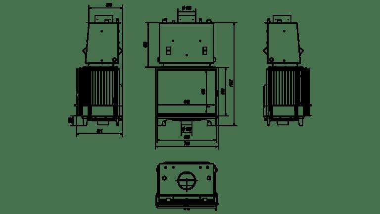 12 kW teljesítményű A+-Energiaosztályos-FRANEK 12 VÍZTERES KANDALLÓBETÉT