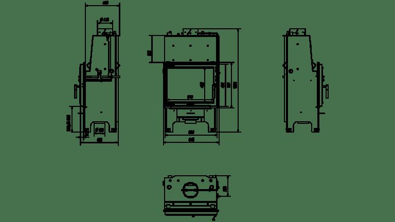 12 kW teljesítményű A+-Energiaosztályos-KRATKI AQUARIO M12 GLASS VÍZTERES KANDALLÓBETÉT