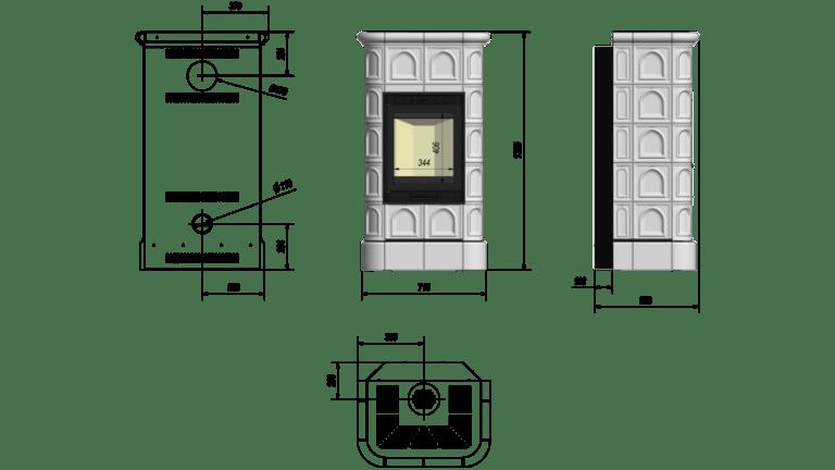 8 kW teljesítményű A-Energiaosztályos-KRATKI BLANKA KAFEL CSEMPEKANDALLÓ