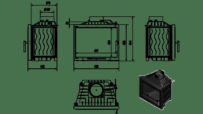 12 kW teljesítményű A-Energiaosztályos-KRATKI ERYK 12 DECO KANDALLÓBETÉT