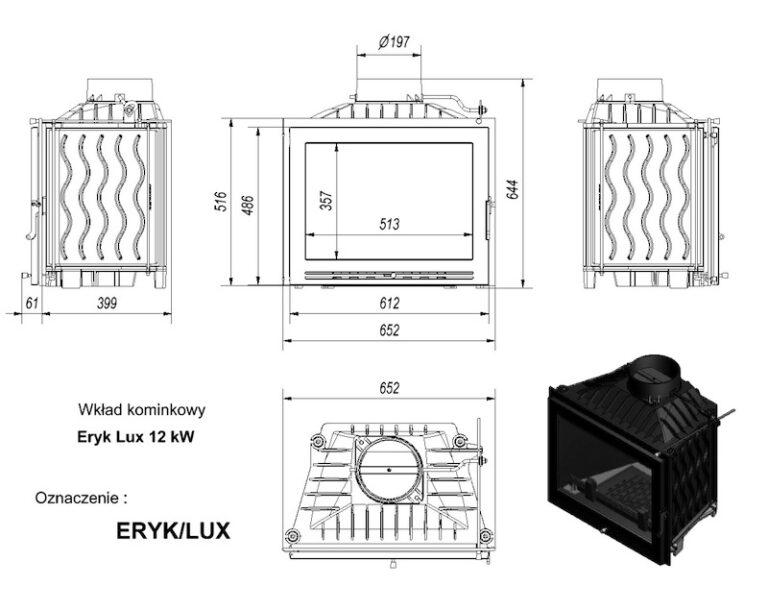 12 kW teljesítményű A-Energiaosztályos-KRATKI ERYK 12 LUX KANDALLÓBETÉT