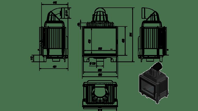 10 kW teljesítményű A-Energiaosztályos-KRATKI FRANEK 10 KANDALLÓBETÉT
