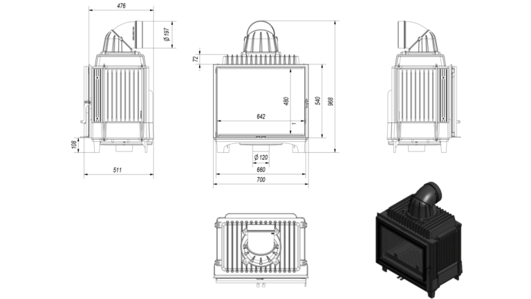 12 kW teljesítményű A+-Energiaosztályos-KRATKI FRANEK 12 KANDALLÓBETÉT