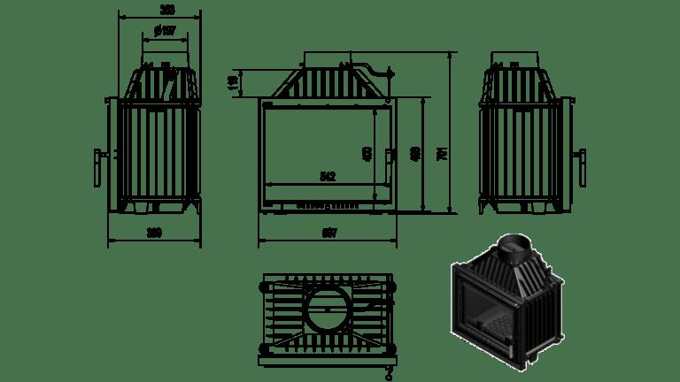 8 kW teljesítményű A-Energiaosztályos-KRATKI MAJA 8 DECO KANDALLÓBETÉT