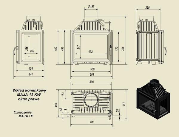 8 kW teljesítményű A-Energiaosztályos-KRATKI MAJA 8 JOBB OLDALÜVEGES KANDALLÓBETÉT