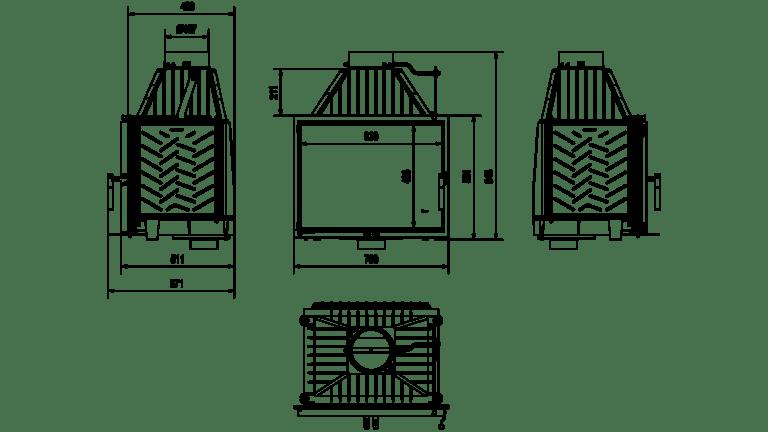 12 kW teljesítményű A+-Energiaosztályos-KRATKI PRO ZOSIA ECO 12 KANDALLÓBETÉT