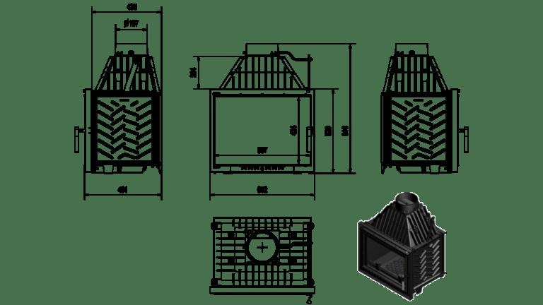16 kW teljesítményű A-Energiaosztályos-KRATKI ZUZIA 16 KANDALLÓBETÉT DECO ÜVEGGEL