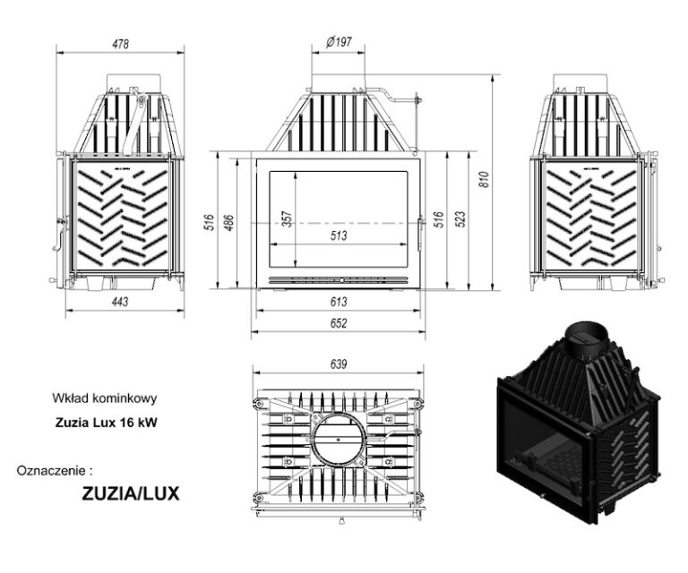 16 kW teljesítményű A-Energiaosztályos-KRATKI ZUZIA LUX 16 kW KANDALLÓBETÉT