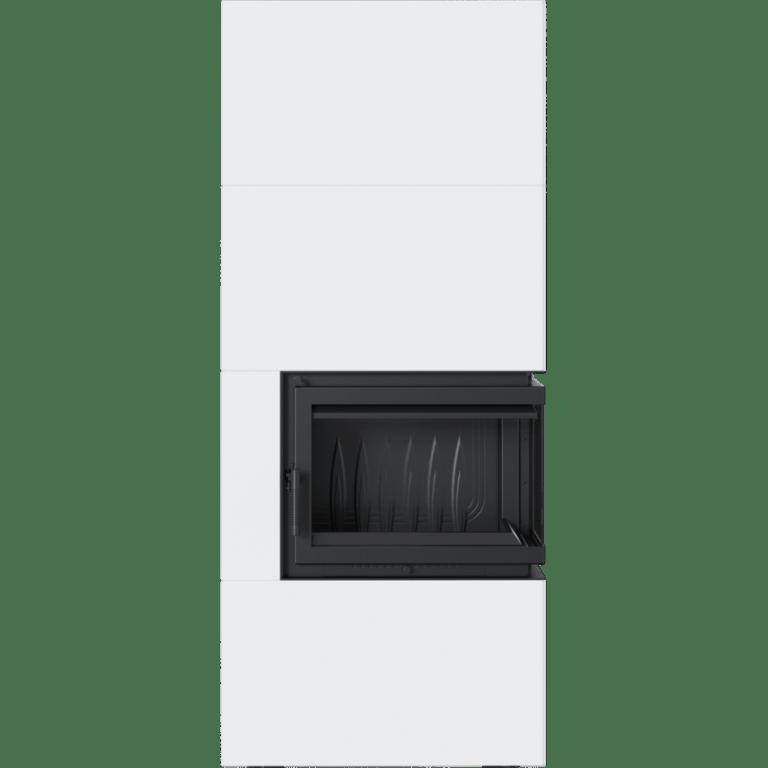 8 kW teljesítményű A-Energiaosztályos-SIMPLE BOX FEHÉR JOBB OLDALÜVEGES KANDALLÓBETÉT TELEPÍTHETŐ LEMEZBURKOLATOS