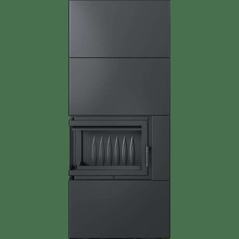 8 kW teljesítményű A-Energiaosztályos-SIMPLE BOX FEKETE BAL OLDALÜVEGES KANDALLÓBETÉT TELEPÍTHETŐ LEMEZBURKOLATOS