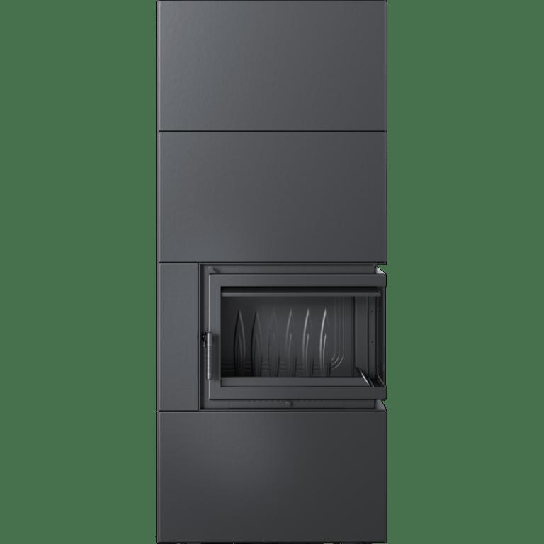 8 kW teljesítményű A-Energiaosztályos-SIMPLE BOX FEKETE JOBB OLDALÜVEGES KANDALLÓBETÉT TELEPÍTHETŐ LEMEZBURKOLATOS